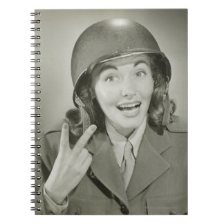 Woman Wearing an Army Helmet Spiral Note Book