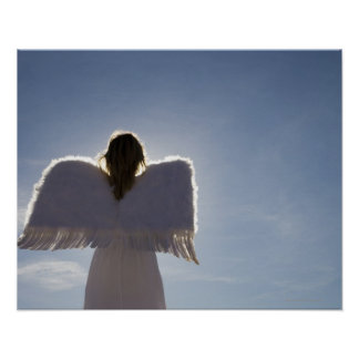 Woman wearing angel wings rear view three posters