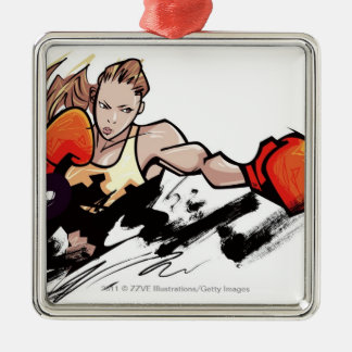 Woman wearing boxing glove christmas tree ornament