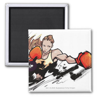 Woman wearing boxing glove magnet