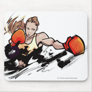 Woman wearing boxing glove mouse mat