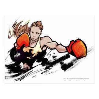 Woman wearing boxing glove postcards