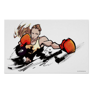 Woman wearing boxing glove poster