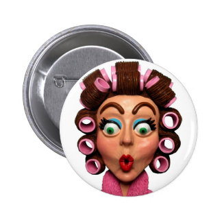 Woman Wearing Curlers 6 Cm Round Badge