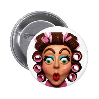Woman Wearing Curlers Pins