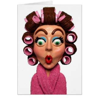 Woman Wearing Curlers Card