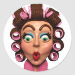 Woman Wearing Curlers Round Stickers
