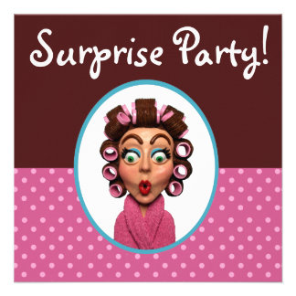 Woman Wearing Curlers Surprise Party Custom Announcements