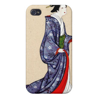 Woman Wearing Robe and Kimono 1878 iPhone 4 Cases