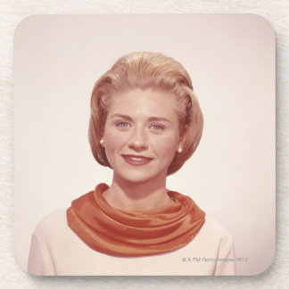 Woman Wearing Scarf Drink Coasters