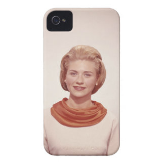 Woman Wearing Scarf iPhone 4 Case-Mate Cases