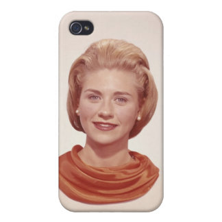 Woman Wearing Scarf iPhone 4 Cover
