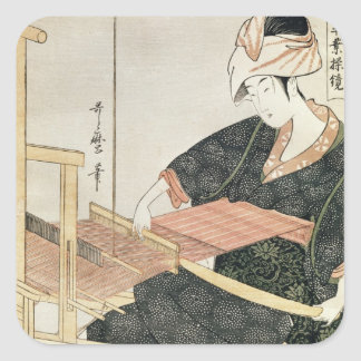Woman Weaving Square Sticker