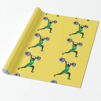 Woman Weightlifting Glossy Wrapping Paper