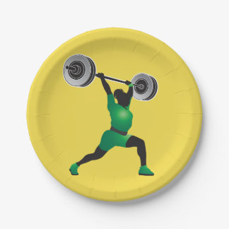 Woman Weightlifting Paper Plates