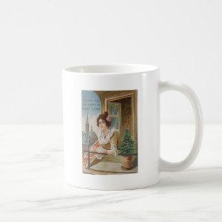 Woman Window Church Christmas Tree Basic White Mug