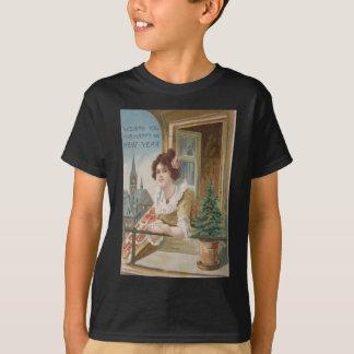 Woman Window Church Christmas Tree Tee Shirt