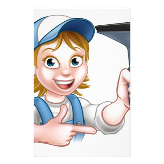 Woman Window Cleaner Cartoon Character Customized Stationery