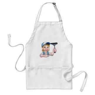 Woman Window Cleaner Cartoon Character Standard Apron