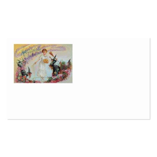 Woman Witch Goblin Jack O Lantern Pumpkin Business Card Templates