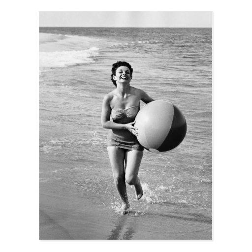 Woman with a Beach Ball Postcard