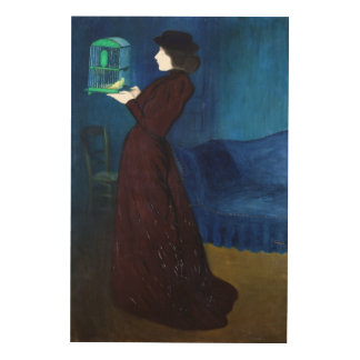 Woman with a Bird Cage Wood Canvas