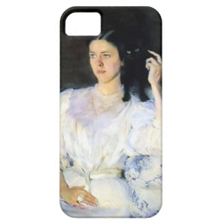 Woman with a Black Pet Cat iPhone 5 Cover