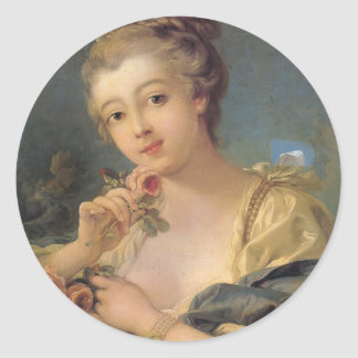 Woman with a Bouquet of Roses by Francois Boucher Round Sticker