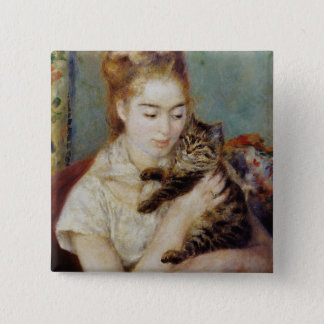 Woman with a Cat by Pierre-Auguste Renoir 15 Cm Square Badge
