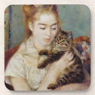 Woman with a Cat by Pierre-Auguste Renoir Drink Coasters