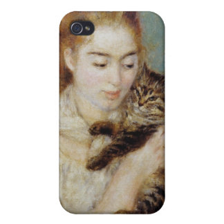 Woman with a Cat by Pierre-Auguste Renoir iPhone 4/4S Cases