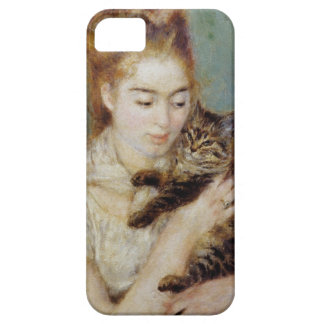 <Woman with a Cat> by Pierre-Auguste Renoir iPhone 5 Cases