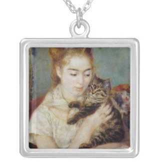 Woman with a Cat by Pierre-Auguste Renoir Silver Plated Necklace