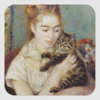 Woman with a Cat by Pierre-Auguste Renoir Square Sticker