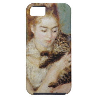 <Woman with a Cat> by Pierre-Auguste Renoir Tough iPhone 5 Case