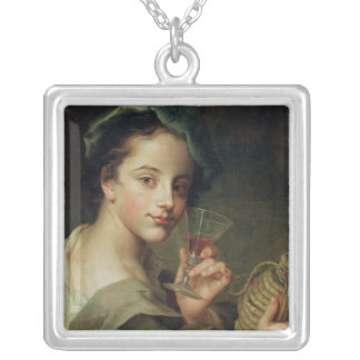 Woman with a Glass of Wine Silver Plated Necklace