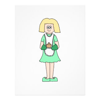 Woman with a hot soup pot. In green and white. 21.5 Cm X 28 Cm Flyer