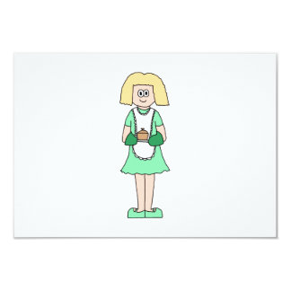 Woman with a hot soup pot. In green and white. 9 Cm X 13 Cm Invitation Card
