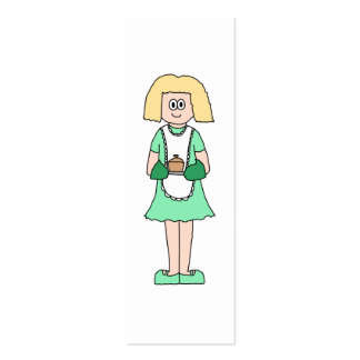 Woman with a hot soup pot. In green and white. Pack Of Skinny Business Cards