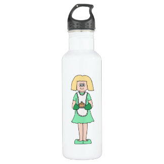 Woman with a hot soup pot. In green and white. 710 Ml Water Bottle