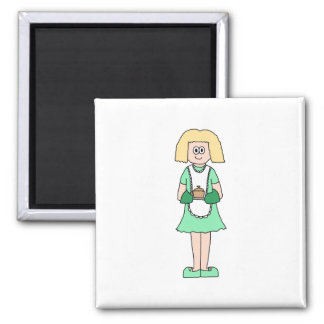 Woman with a hot soup pot. In green and white. Square Magnet
