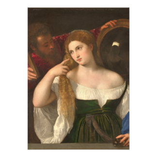 Woman with a Mirror by Titian Invites