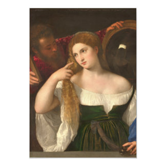 Woman with a Mirror by Titian 5x7 Paper Invitation Card