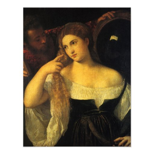 Woman with a Mirror by Titian Personalized Invitation