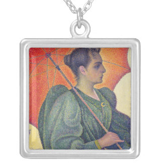 Woman with a Parasol, 1893 Silver Plated Necklace