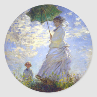 Woman with a Parasol by Claude Monet Classic Round Sticker
