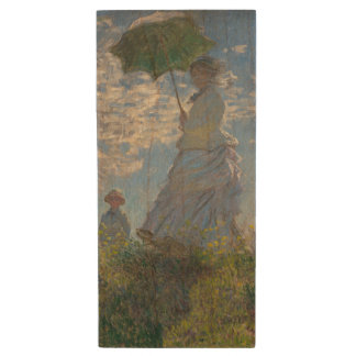 Woman with a Parasol by Claude Monet Wood USB 2.0 Flash Drive