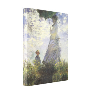 Woman with a Parasol by Monet Wrapped Canvas Stretched Canvas Print