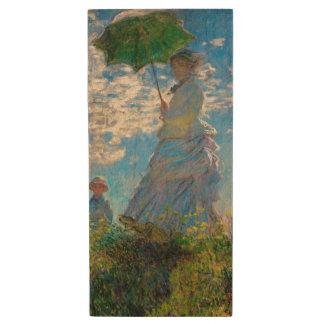 Woman with a Parasol Claude Monet Impressionist Wood USB 2.0 Flash Drive