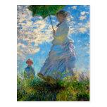 Woman with a Parasol Claude Monet Impressionist Postcard
